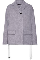 Joseph Caplan Split Side Wool And Cashmere Blend Coat Light Gray
