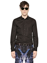 Just Cavalli Lace Up Collar Cotton Poplin Black