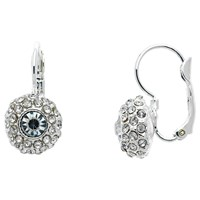 Monet Pave Glass Crystal Leverback Drop Earrings Silver