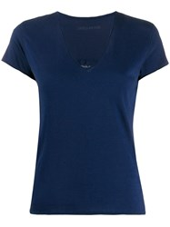 Zadig And Voltaire Sheer Skull T Shirt Blue