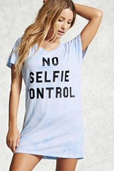Forever 21 No Selfie Control Nightdress Blue Black