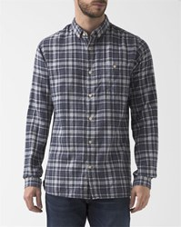 Knowledge Cotton Apparel Grey Blue Checked Flannel Shirt