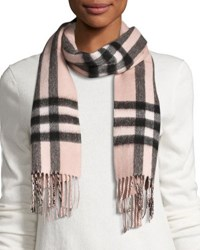 Burberry Metallic And Check Cashmere Blend Scarf Rose