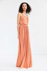 Silence And Noise Coralina Cupro Asymmetrical Maxi Dress Rust