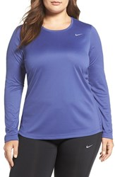 Nike Plus Size Women's 'Miler' Dri Fit Long Sleeve Top Dark Purple Dust