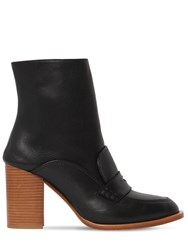 Loewe 85Mm Leather Loafer Boots Black