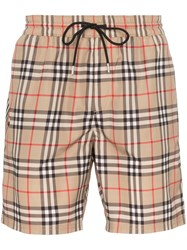 Burberry Guildes Check Swim Shorts Brown