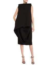 Urban Zen Sculptured Tuck Sleeveless Fitted Back Dress Black