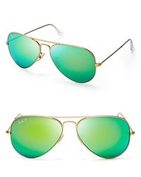 Ray Ban Polarized Mirrored Aviator Sunglasses Matte Gold Polarized Green Mirror