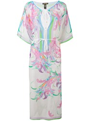 Roberto Cavalli Floral Print Semi Sheer Dress Women Silk Cotton M White