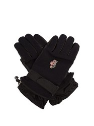 Moncler Grenoble Twill And Leather Technical Ski Gloves Navy