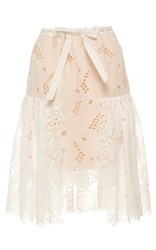 Alexis Mabille Richelieu Embroidered Skirt White