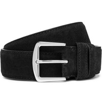 Loro Piana 3.5Cm Black Suede Belt Black