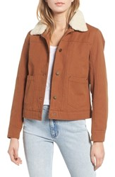 Pendleton Down Faux Shearling Trucker Jacket Whiskey