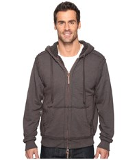 True Grit Cashmere Terry Zip Hood Jacket With Sherpa Vintage Black Men's Coat