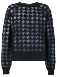 Haider Ackermann Houndstooth Pattern Jumper Men Silk Mohair Wool M Black