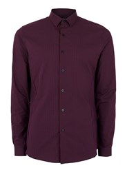 Topman Red Burgundy And Navy Gingham Stretch Skinny Fit Dress Shirt