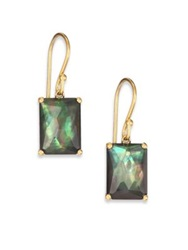 Ippolita Gelato Black Shell Clear Quartz And 18K Yellow Gold Rectangle Doublet Drop Earrings Gold Green