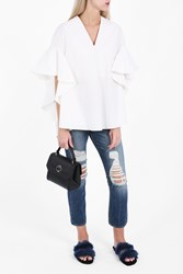 Delpozo Women S V Neck Poplin Ruffle Shirt Boutique1 White