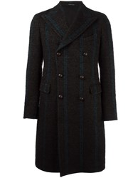 Tagliatore Mid Length Striped Peacoat Brown