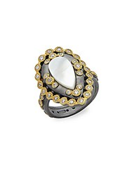Freida Rothman Classic Mother Of Pearl And Studded Sterling Silver Ring Gold