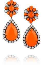 Shourouk Roma Gunmetal Tone Painted Crystal Earrings Metallic