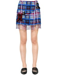 Tommy Hilfiger Collection Plaid Fringed Wool Blend Mini Skirt