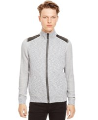 Kenneth Cole Reaction Long Sleeve Marled Full Zip With Pleather
