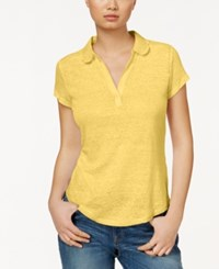 Maison Jules Short Sleeve Eyelet Collar Polo Only At Macy's Misted Yellow