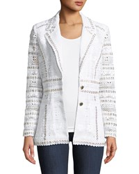 Berek Studded Trim Eyelet Blazer Plus Size White