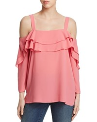Nydj Tiered Ruffle Cold Shoulder Blouse 100 Bloomingdale's Exclusive Bisou Pink