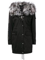 Philipp Plein Fur Lined Parka Black