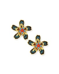 Jose And Maria Barrera Bright Flower Clip On Earrings Multi