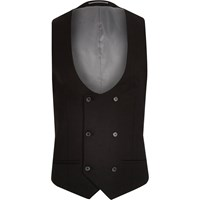River Island Big And Tall Black Double Breast Waistcoat