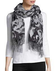 Lord And Taylor Tonal Rose Blanket Scarf Black