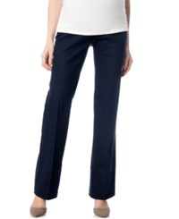 A Pea In The Pod Maternity Secret Fit Belly Bootcut Dress Pants Navy Wash