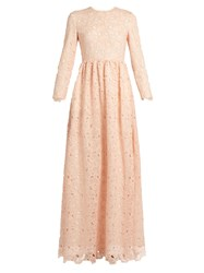 Huishan Zhang Axelia Cloud Lace Long Sleeved Gown Light Pink