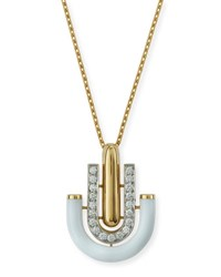 David Webb White Enamel And Diamond U Drop Pendant Necklace