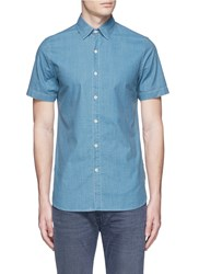 Denham Jeans 'Aures' Aged Cotton Chambray Shirt Blue