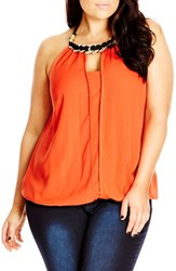 Plus Size Women's City Chic Coin Detail Halter Top