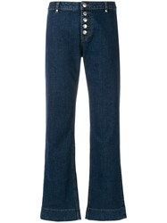 Alexa Chung Flared Buttoned Jeans Blue