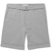 Officine Generale Julian Cotton Twill Shorts Gray