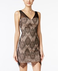 Jump Juniors' Lace Bodycon Dress Black Nude