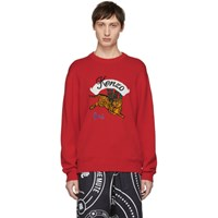 Kenzo Red Intarsia Jumping Tiger Sweater