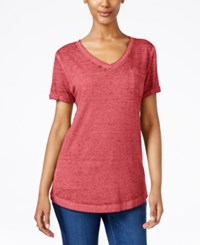 Style And Co Petite Burnout V Neck T Shirt Only At Macy's Dark Rose