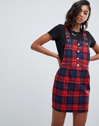 Boohoo Pinafore Dress In Check Multi