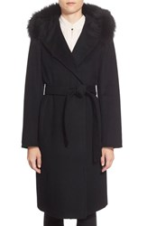 Petite Women's Ellen Tracy Genuine Fox Fur Trim Long Hooded Wool Blend Coat Black
