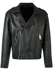 Liska Classic Biker Jacket Men Leather Mink Fur L Black