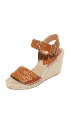 Soludos Woven Leather Wedge Espadrilles Camel