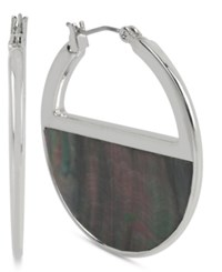 Kenneth Cole New York Silver Tone Black Mother Of Pearl Shell Hoop Earrings